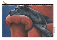 Carry-all Pouch featuring the drawing Dog Tired by Cynthia House