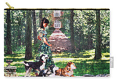 Dogs Lay At Her Feet Carry-all Pouch by Steve Karol