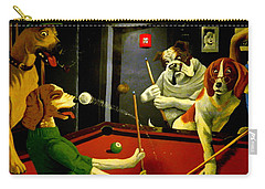 Dogs Playing Pool Wall Art Unknown Painter Carry-all Pouch