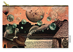 Carry-all Pouch featuring the mixed media Dolphin Dreams by Ally  White