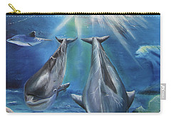 Dolphins Playing Carry-all Pouch by Thomas J Herring