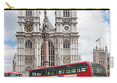 Double-decker Buses Passing Carry-all Pouch
