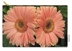 Carry-all Pouch featuring the photograph Double Delight - Coral Daisies by Dora Sofia Caputo Photographic Art and Design