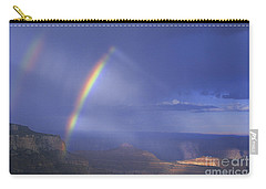 Double Rainbow At Cape Royal Grand Canyon National Park Carry-all Pouch