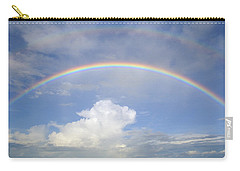 Carry-all Pouch featuring the photograph Double Rainbow At Sea by Bradford Martin