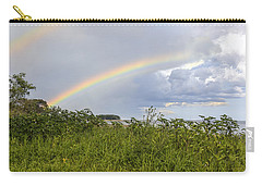 Carry-all Pouch featuring the photograph Double Rainbow Sheffield Island by Marianne Campolongo