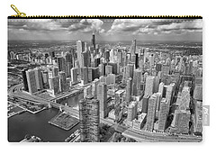 Downtown Chicago Aerial Black And White Carry-all Pouch by Adam Romanowicz