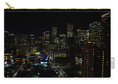 Downtown Houston At Night Carry-all Pouch by Judy Vincent
