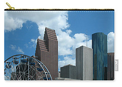 Downtown Houston With Ferris Wheel Carry-all Pouch by Connie Fox