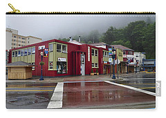 Carry-all Pouch featuring the photograph Downtown Juneau On A Rainy Day by Cathy Mahnke