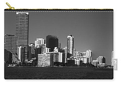 Downtown Miami Panorama Monochrom  Carry-all Pouch by Christiane Schulze Art And Photography
