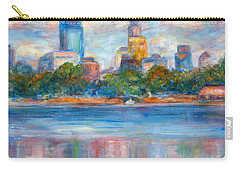 Downtown Minneapolis Skyline From Lake Calhoun II - Or Commission Your City Painting Carry-all Pouch by Quin Sweetman