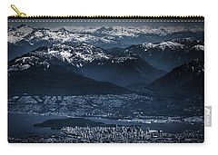 Downtown Vancouver And The Mountains Aerial View Low Key Carry-all Pouch by Eti Reid
