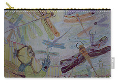Dragonflies In Winter Carry-all Pouch by Avonelle Kelsey