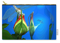 Carry-all Pouch featuring the photograph Dragonfly And Bud On Blue by Joyce Dickens