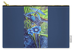 Carry-all Pouch featuring the painting Dragonfly Hunt For Food In The Flowerhead by Kimberlee Baxter