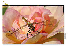 Dragonfly On A Rose Carry-all Pouch