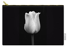 Dramatic Tulip Flower Black And White Carry-all Pouch by Jennie Marie Schell
