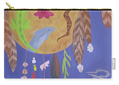 Carry-all Pouch featuring the painting Dream Spirit Shield by Ellen Levinson