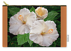 Dreamy Blooms - White Hibiscus Carry-all Pouch