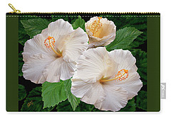 Dreamy Blooms - White Hibiscus Carry-all Pouch by Ben and Raisa Gertsberg