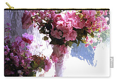 Dreamy Cottage Chic Impressionistic Flowers - Pink Roses Pink Vases Carry-all Pouch