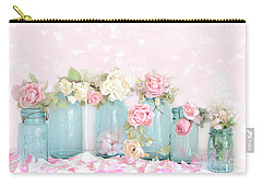 Dreamy Shabby Chic Pink White Roses  - Vintage Aqua Teal Ball Jars Romantic Floral Roses  Carry-all Pouch