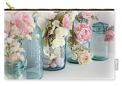 Shabby Chic Roses Blue Aqua Ball Mason Jars - Roses In Aqua Blue Mason Jars - Shabby Chic Decor Carry-all Pouch