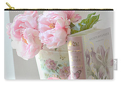 Dreamy Shabby Chic Pink Peonies And Books - Romantic Cottage Peonies Floral Art With Pink Books Carry-all Pouch