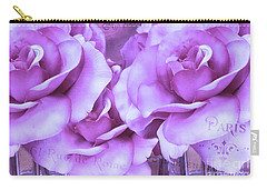 Dreamy Shabby Chic Purple Lavender Paris Roses - Dreamy Lavender Roses Cottage Floral Art Carry-all Pouch