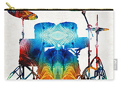 Drum Set Art - Color Fusion Drums - By Sharon Cummings Carry-all Pouch by Sharon Cummings