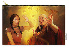 Carry-all Pouch featuring the painting Drum Story Elders Teaching by Rob Corsetti