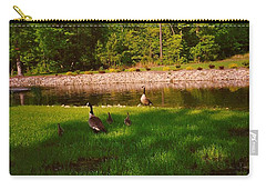 Carry-all Pouch featuring the photograph Duck Family Getting Back From Pond by Amazing Photographs AKA Christian Wilson
