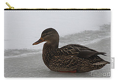Carry-all Pouch featuring the photograph Duck On Ice by John Telfer