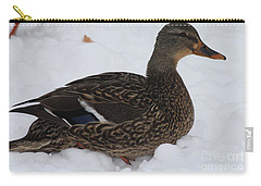 Duck Playing In The Snow Carry-all Pouch by John Telfer