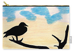 Carry-all Pouch featuring the drawing Duck Sunset by D Hackett