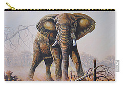 Carry-all Pouch featuring the painting Dusty Jumbo by Anthony Mwangi