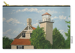 Carry-all Pouch featuring the painting Eagle Bluff Lighthouse Wisconsin by Norm Starks