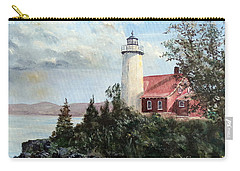 Carry-all Pouch featuring the painting Eagle Harbor Light by Lee Piper
