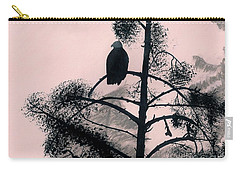 Carry-all Pouch featuring the drawing Eagle In Pink Sky by D Hackett