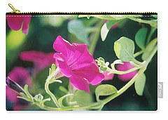 Carry-all Pouch featuring the photograph Early Morning Petunias by Alan Lakin
