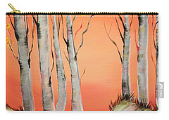 Carry-all Pouch featuring the painting Early Winter Aspen by Janice Rae Pariza