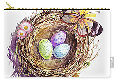 Easter Colors Bird Nest Carry-all Pouch by Irina Sztukowski