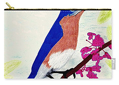 Carry-all Pouch featuring the drawing Florida - Eastern - Blue Bird by D Hackett