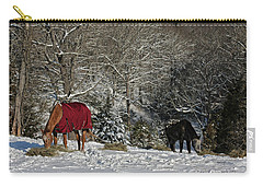 Eating Hay In The Snow Carry-all Pouch by Denise Romano