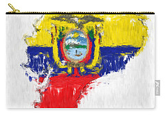 Ecuador Painted Flag Map Carry-all Pouch by Antony McAulay