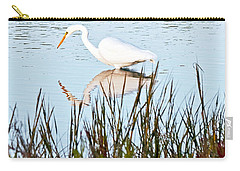 Carry-all Pouch featuring the photograph Egret And Coot In Autumn by Kate Brown