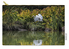 Carry-all Pouch featuring the photograph Egret At The Lake by Chris Lord