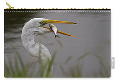 Carry-all Pouch featuring the photograph Egret Having Lunch by Jerry Gammon