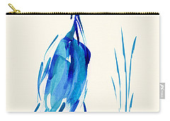 Egret In Blue Mixed Media Carry-all Pouch